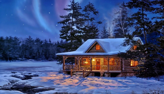 wood house in snow